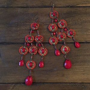 Gold and Red Bead Large Dangle Earrings Anthro